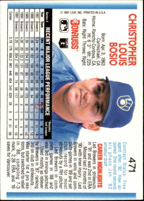 1992 Donruss #471 Chris Bosio back image