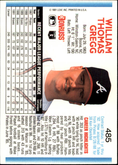 1992 Donruss #485 Tommy Gregg back image