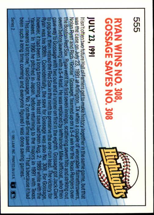 1992 Donruss #555 N.Ryan/G.Gossage HL back image