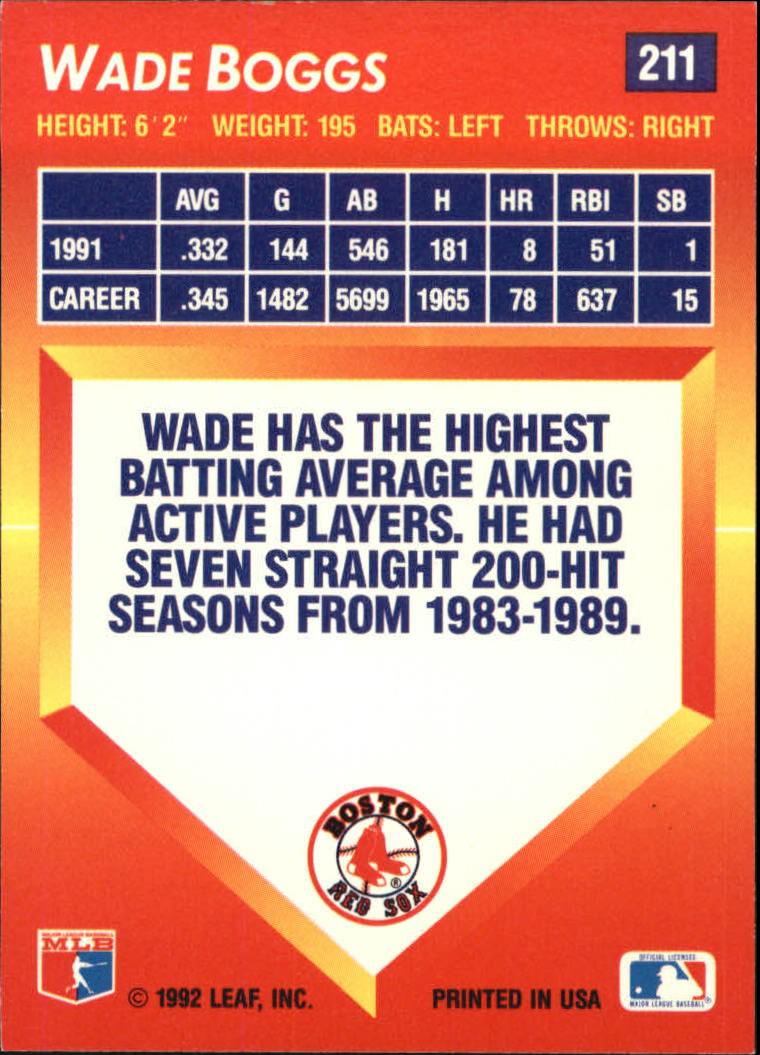 1992 Triple Play #211 Wade Boggs back image
