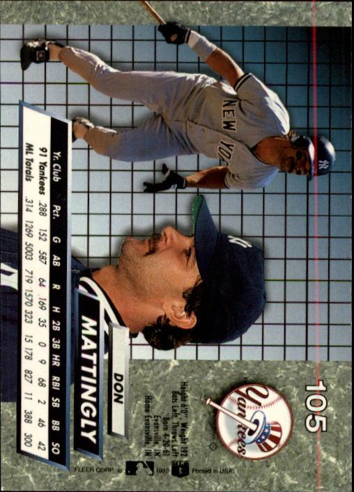 1992 Ultra #105 Don Mattingly back image