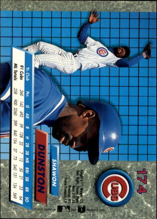 1992 Ultra #174 Shawon Dunston back image