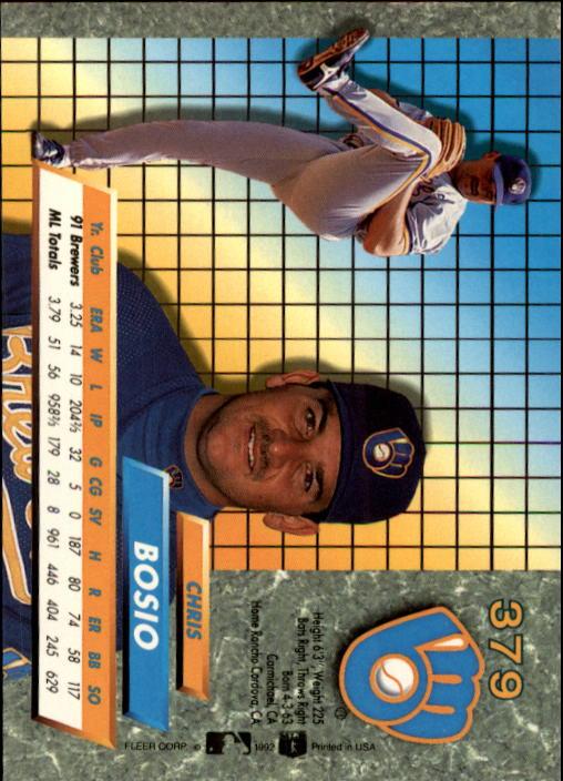 1992 Ultra #379 Chris Bosio back image