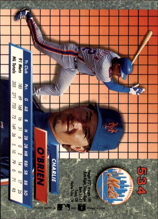 1992 Ultra #534 Charlie O'Brien back image
