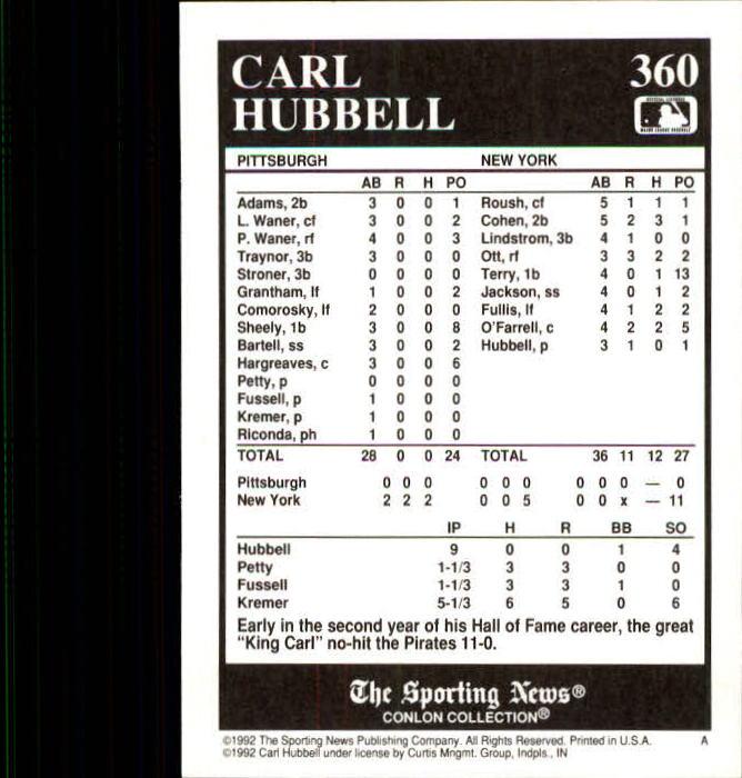 1992 Conlon TSN #360 Carl Hubbell back image