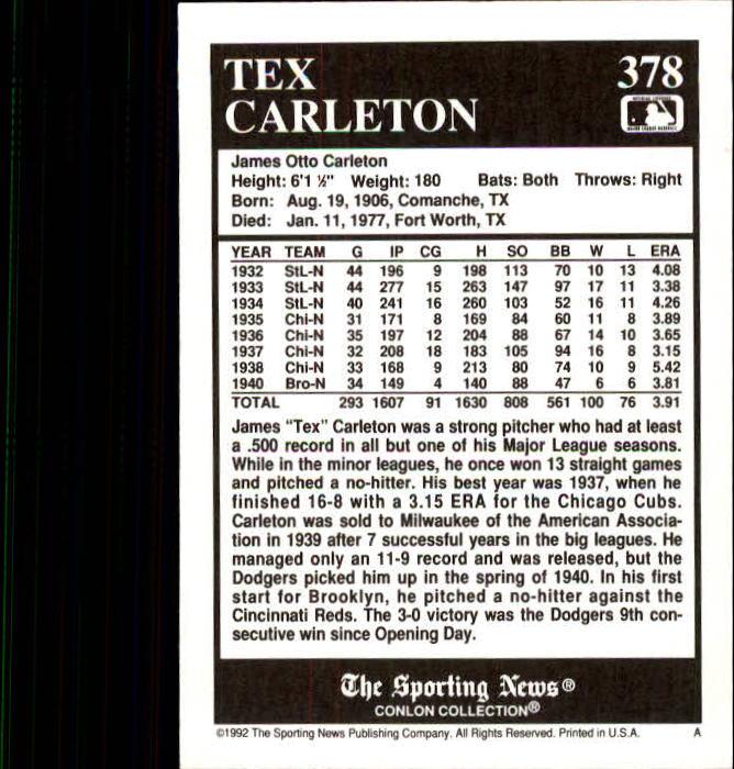 1992 Conlon TSN #378 Tex Carleton back image