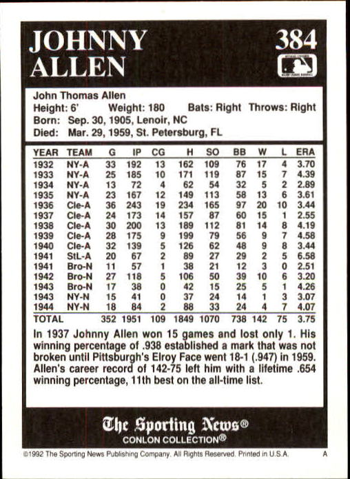1992 Conlon TSN #384 Johnny Allen back image