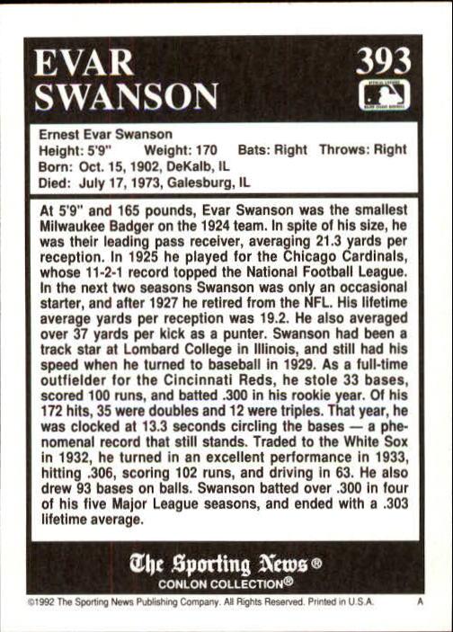 1992 Conlon TSN #393 Evar Swanson back image