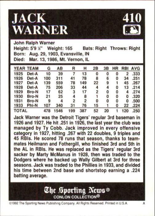 1992 Conlon TSN #410 Jack Warner back image