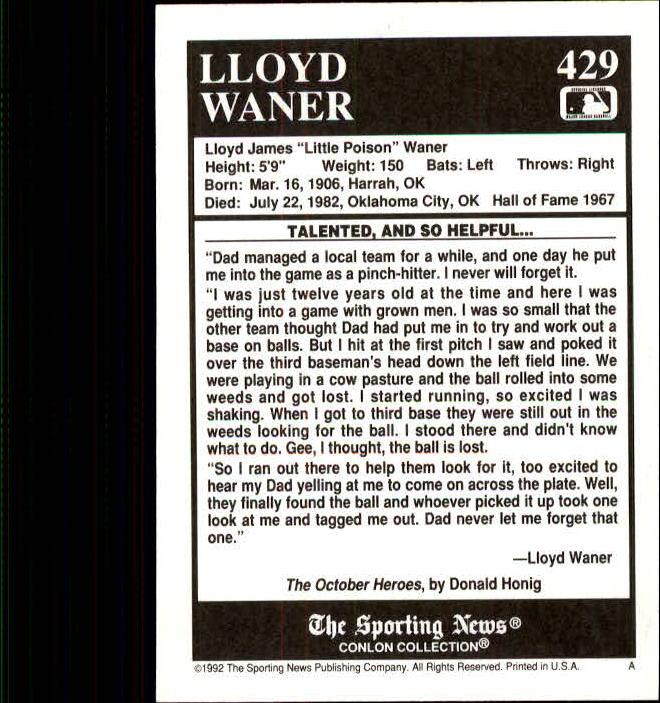 1992 Conlon TSN #429 Lloyd Waner back image