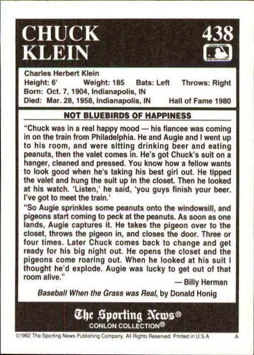 1992 Conlon TSN #438 Chuck Klein back image