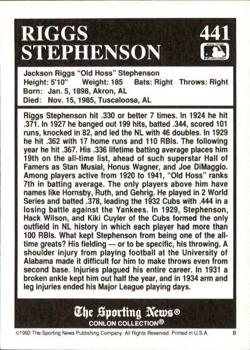1992 Conlon TSN #441 Riggs Stephenson back image