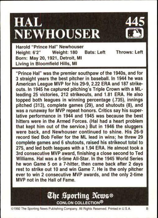 1992 Conlon TSN #445 Hal Newhouser back image