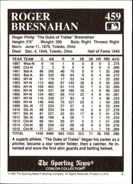 1992 Conlon TSN #459 Roger Bresnahan back image