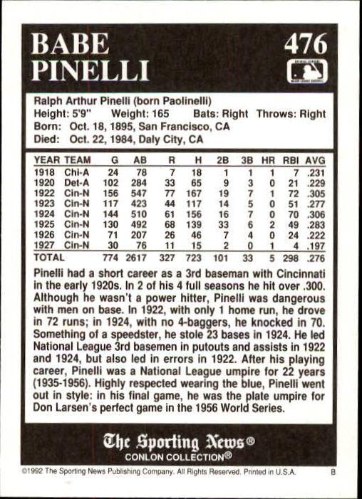 1992 Conlon TSN #476 Babe Pinelli back image