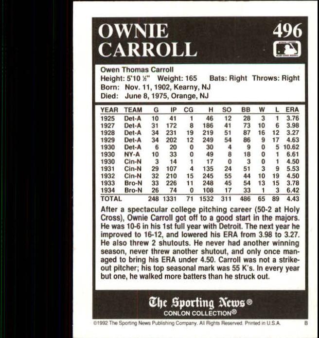 1992 Conlon TSN #496 Ownie Carroll back image