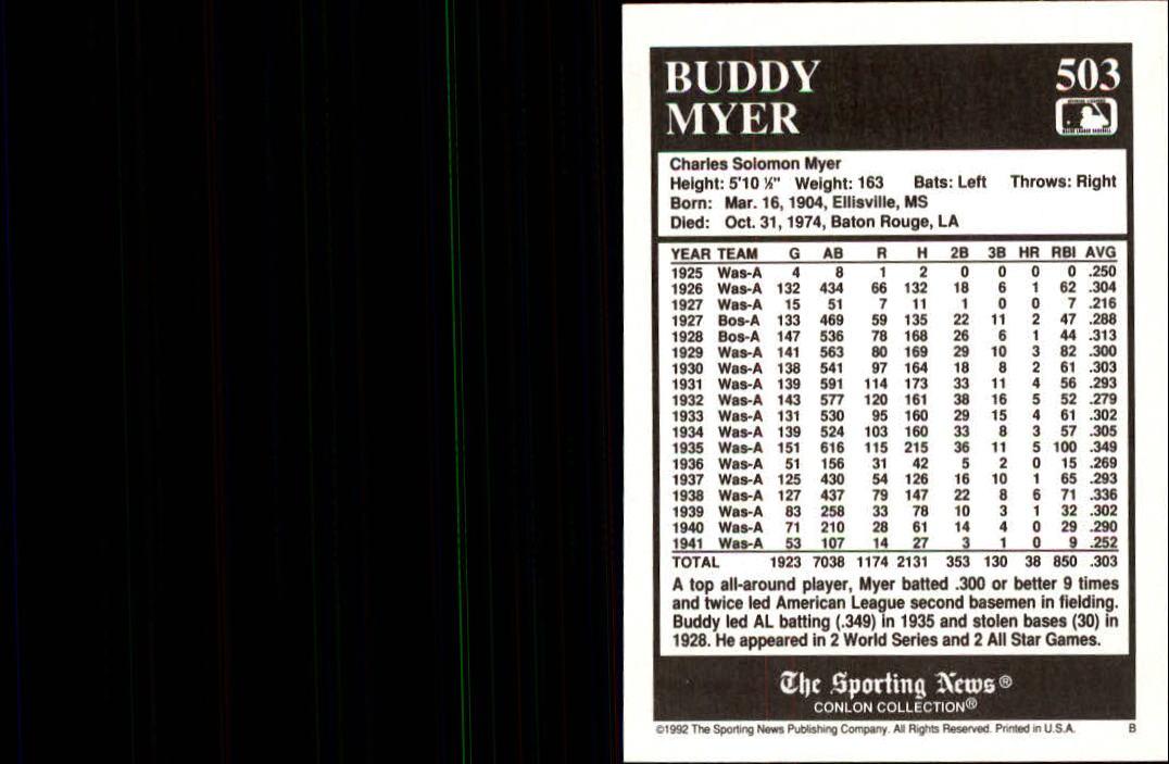 1992 Conlon TSN #503 Buddy Myer back image
