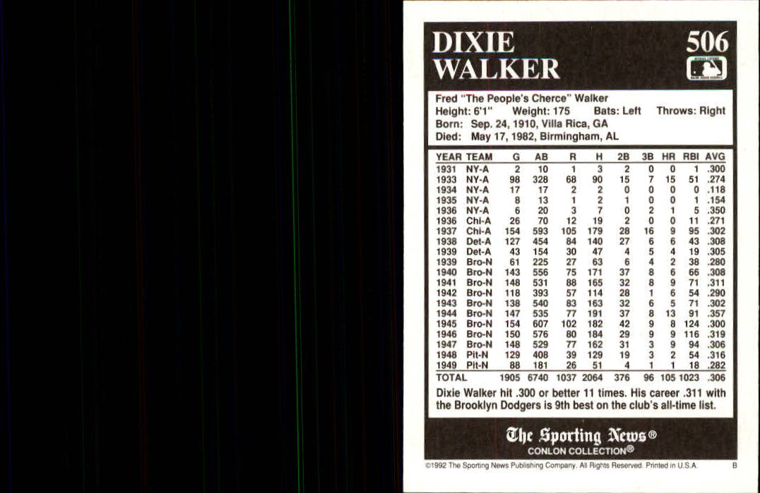 1992 Conlon TSN #506 Dixie Walker back image