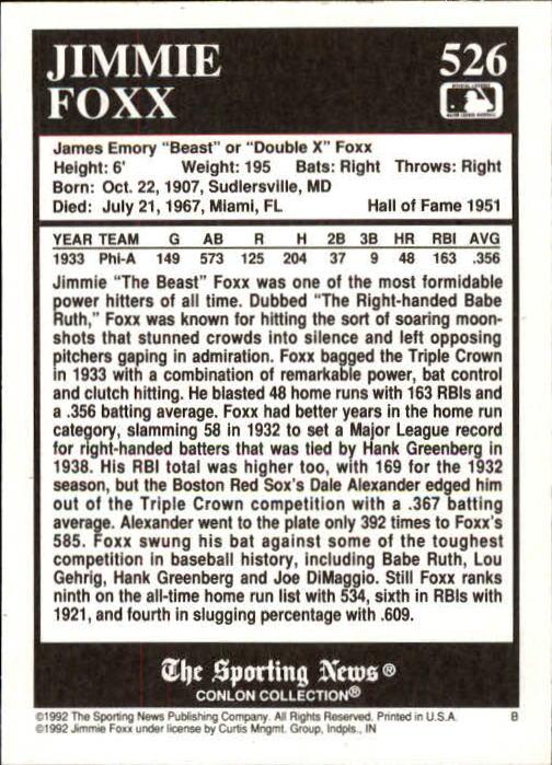 1992 Conlon TSN #526 Jimmie Foxx back image