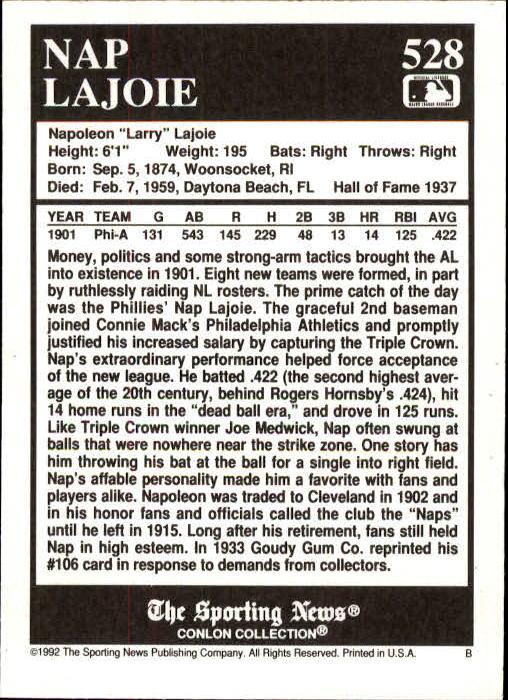 1992 Conlon TSN #528 Nap Lajoie back image