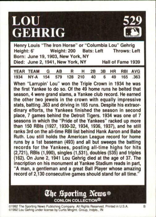 1992 Conlon TSN #529 Lou Gehrig back image