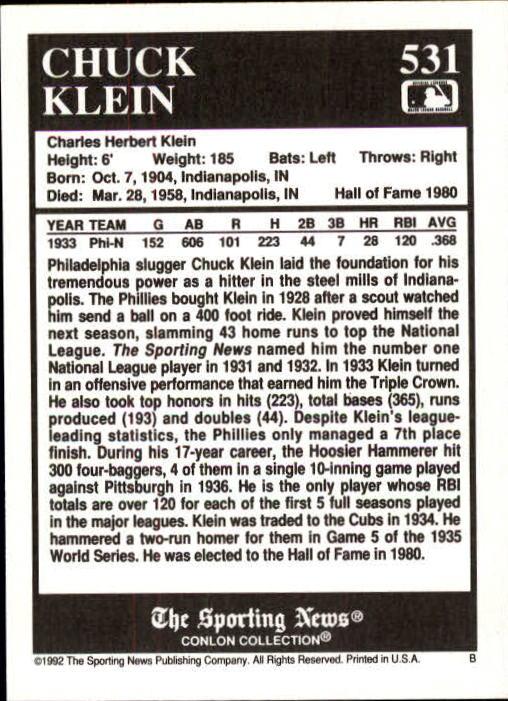 1992 Conlon TSN #531 Chuck Klein back image