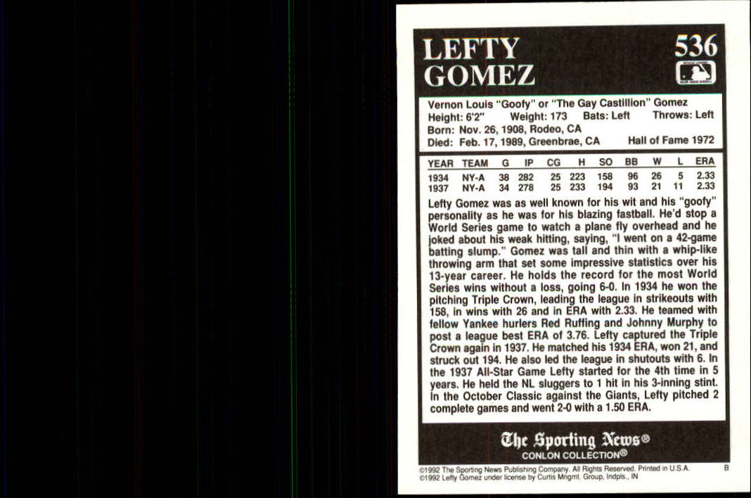 1992 Conlon TSN #536 Lefty Gomez back image