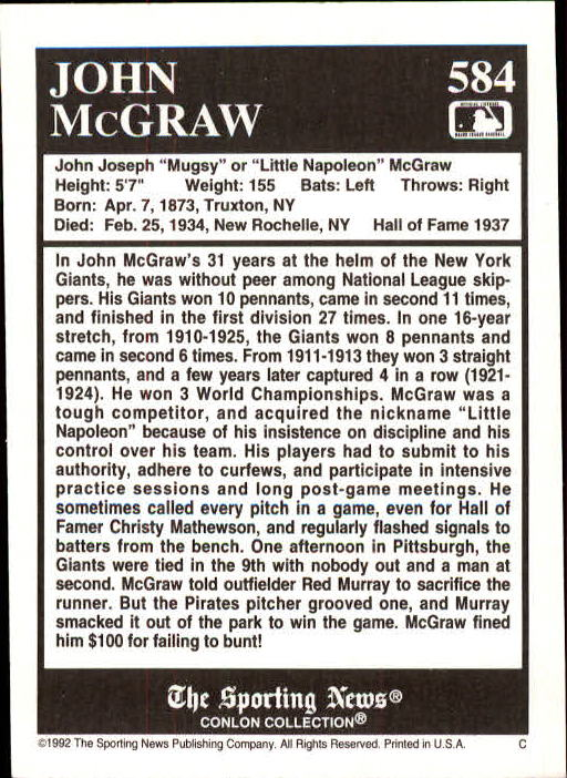 1992 Conlon TSN #584 John McGraw back image