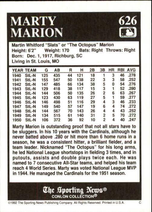 1992 Conlon TSN #626 Marty Marion back image