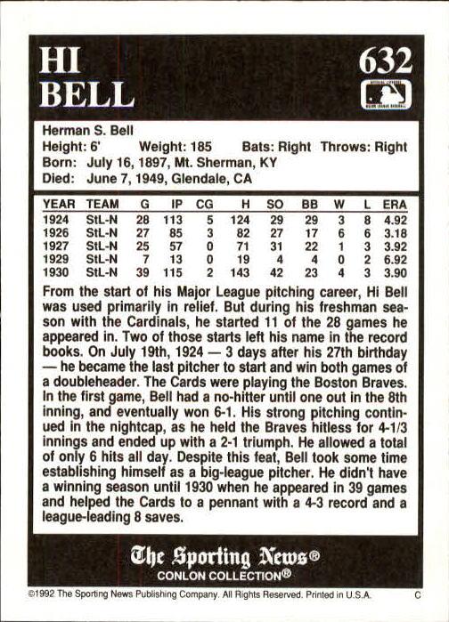 1992 Conlon TSN #632 Hi Bell back image