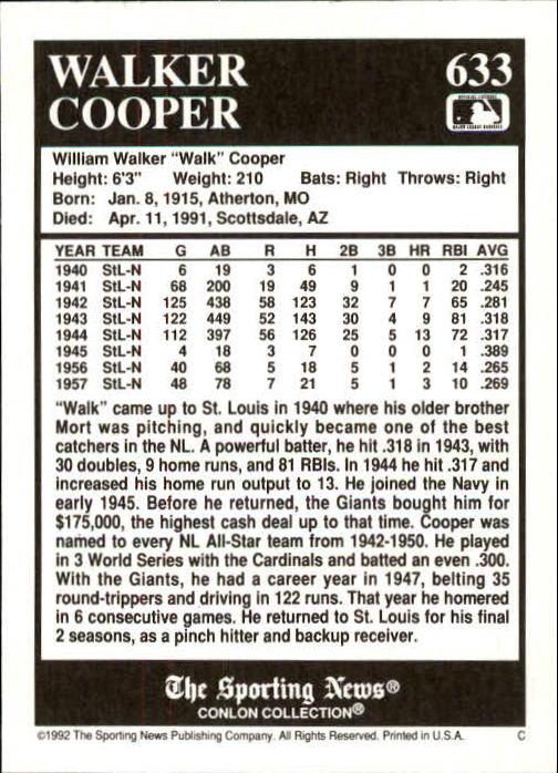 1992 Conlon TSN #633 Walker Cooper back image