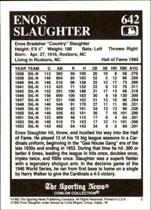 1992 Conlon TSN #642 Enos Slaughter back image
