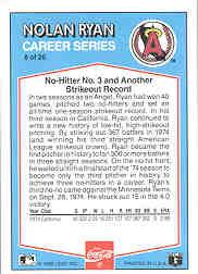 1992 Donruss Coke Ryan #8 Nolan Ryan/1974 CA back image