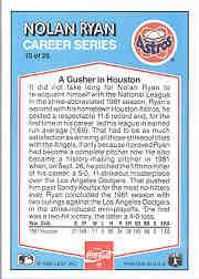 1992 Donruss Coke Ryan #15 Nolan Ryan/1981 HA back image