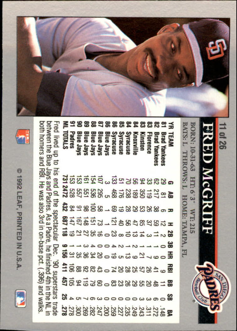 1992 Leaf Previews #11 Fred McGriff back image