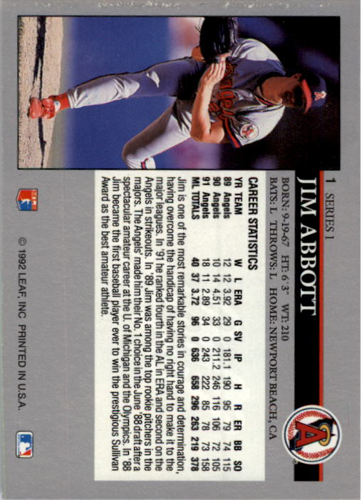 1992 Leaf #1 Jim Abbott back image