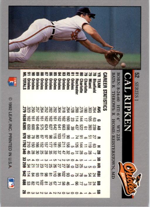 1992 Leaf #52 Cal Ripken back image