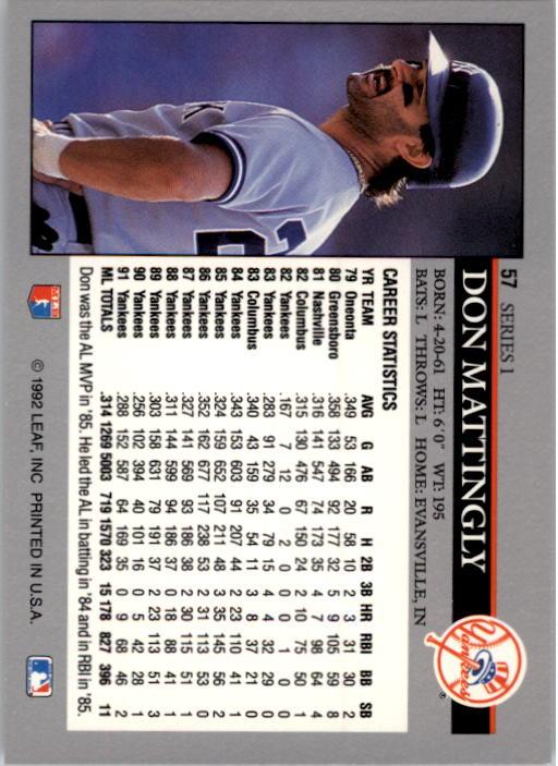1992 Leaf #57 Don Mattingly back image