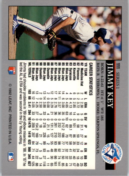 1992 Leaf #111 Jimmy Key back image
