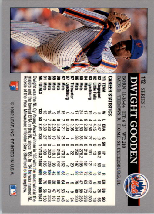 1992 Leaf #112 Dwight Gooden back image