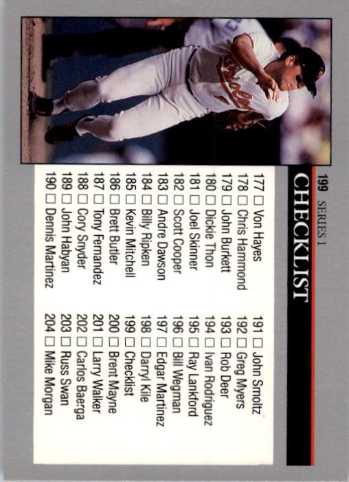 1992 Leaf #199 Cal Ripken CL back image