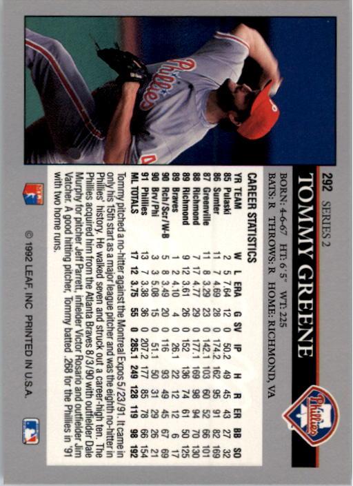 1992 Leaf #292 Tommy Greene back image