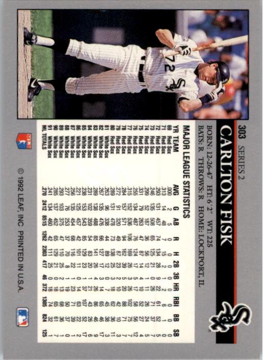 1992 Leaf #303 Carlton Fisk back image