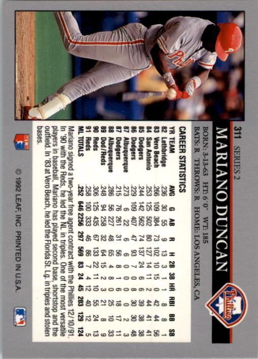 1992 Leaf #311 Mariano Duncan back image