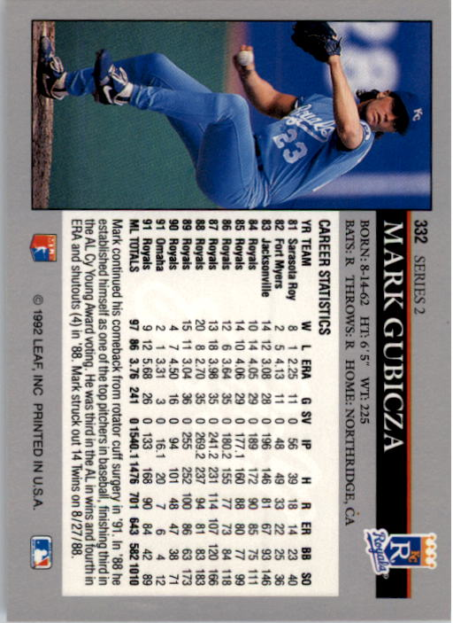 1992 Leaf #332 Mark Gubicza back image