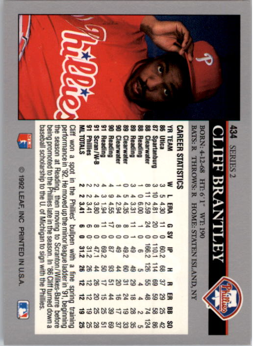 1992 Leaf #434 Cliff Brantley back image