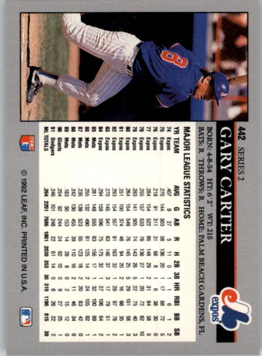 1992 Leaf #442 Gary Carter back image