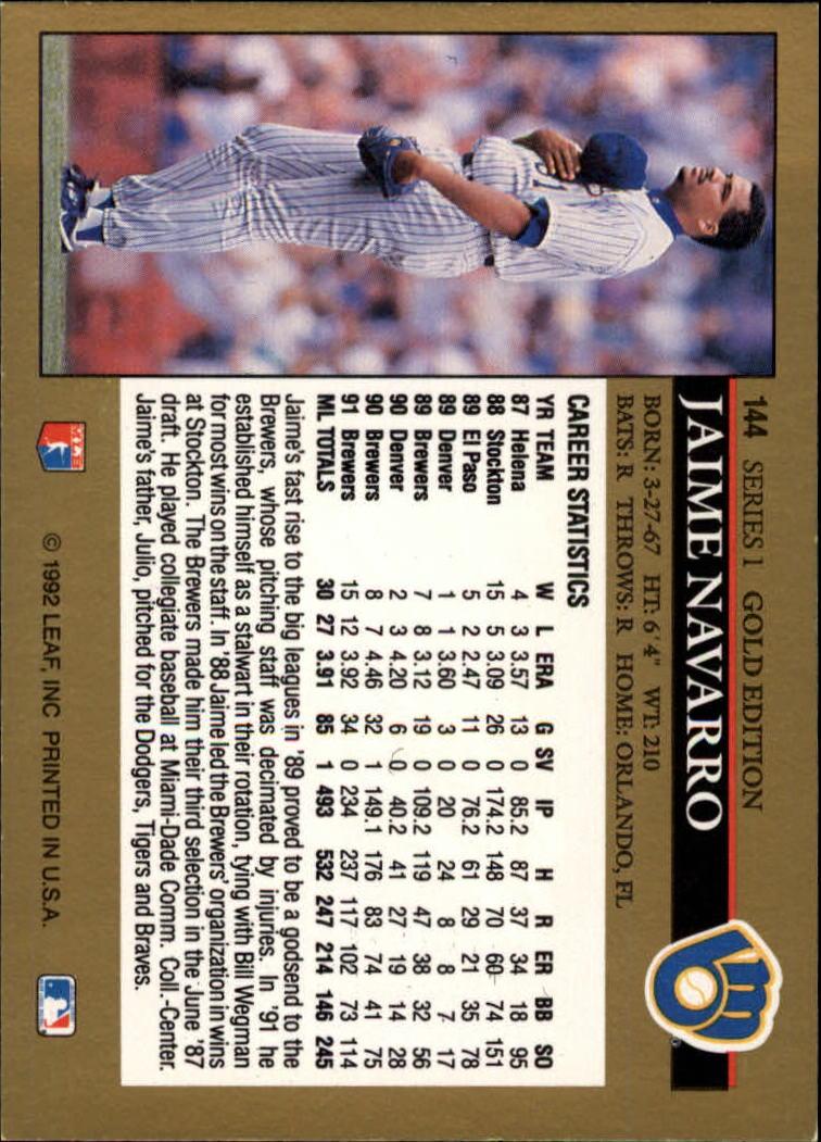 1992 Leaf Black Gold #144 Jaime Navarro back image