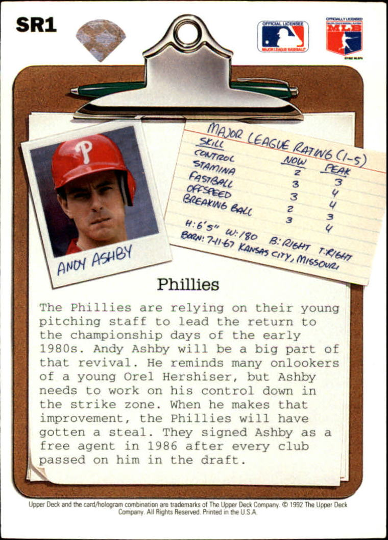 1992 Upper Deck Scouting Report #SR1 Andy Ashby back image