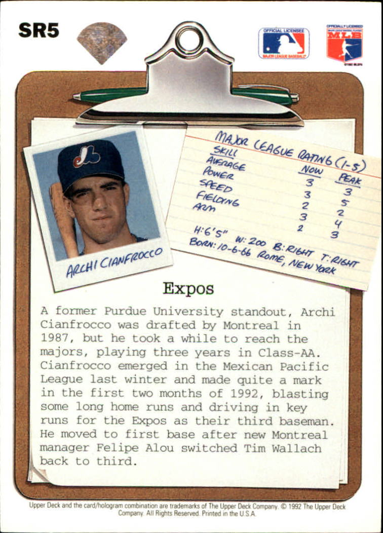 1992 Upper Deck Scouting Report #SR5 Archi Cianfrocco back image